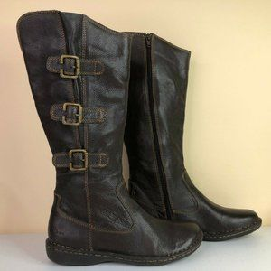 Born Brown Pebbled Leather Zip Up Knee High Boots